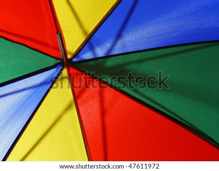 Bright multicolor umbrella close up