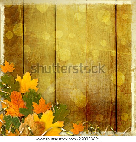 Bright multicolored autumn leaves on the abstract beautiful background - stock photo