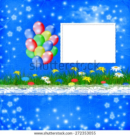 Bright multicolored background  with balloon and flowers - stock photo