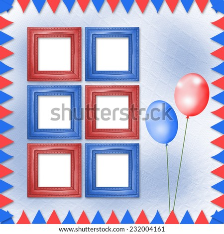 Bright multicolored background with frames, balloons and confetti  - stock photo