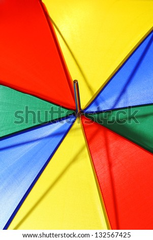 Bright multicolored beach umbrella closeup