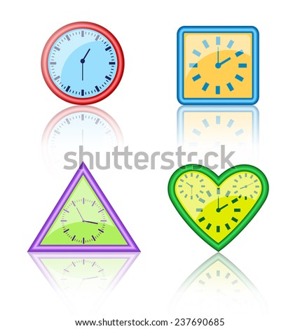 Bright multicolored different forms of clocks with reflection on white background - stock photo