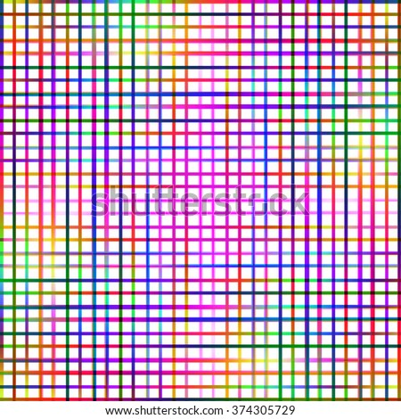 Bright multicolored grid lines abstract pattern. - stock photo