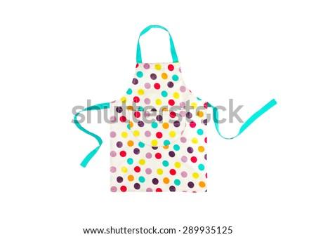 Bright multicolored polka dot apron isolated on white background - stock photo
