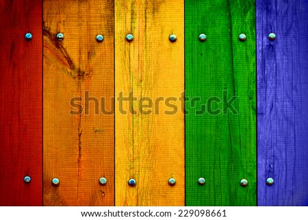 Bright Multicolored Wood Planks - stock photo