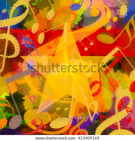 Bright music background with musical notes an big star - stock photo