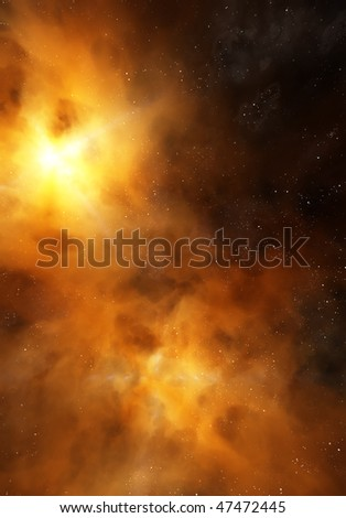 Bright nebula - stock photo