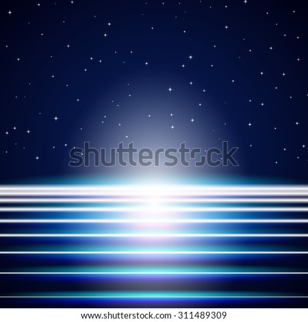 Bright neon lines background with 80s style and chrome letters - stock photo