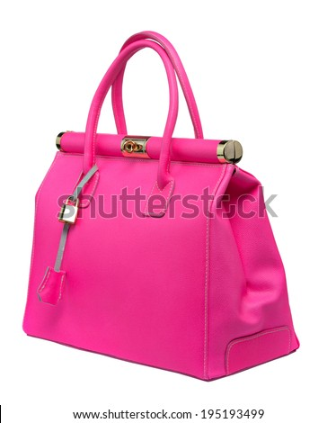 Bright neon pink bag with gold lock and ostrich texture leather isolated on white bacground - stock photo