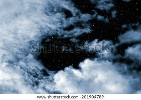 Bright night sky with clouds and stars  - stock photo