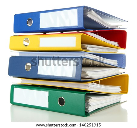 Bright office folders isolated on white - stock photo