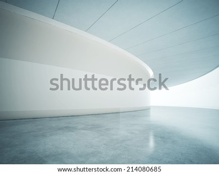 Bright open plan interior with wide luminous screen - stock photo
