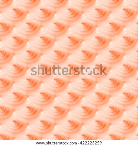 Bright orange abstract curved ripple design on white background (tile able)  - stock photo