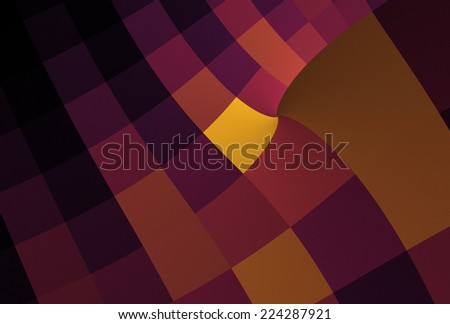 Bright orange and purple abstract curved checkered design on black background - stock photo