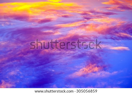 Bright orange and yellow colors sunset sky. Soft focus - stock photo