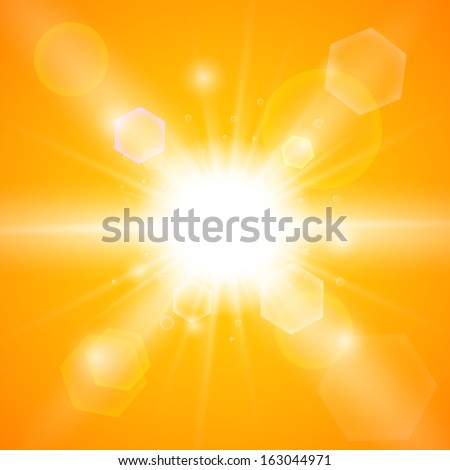 Bright orange background with a summer sun burst with lens flare. Space for your text