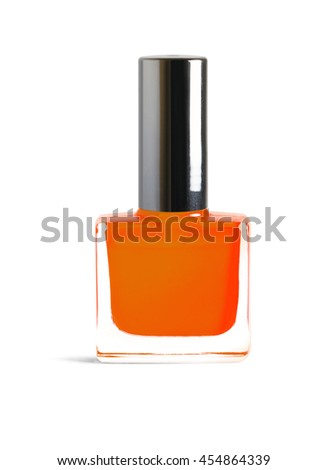 Bright orange color nail polish isolated on white background with clipping path