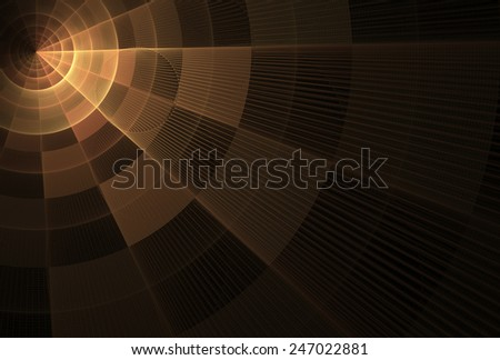 Bright orange / copper abstract checkered ray / disc design on black background - stock photo