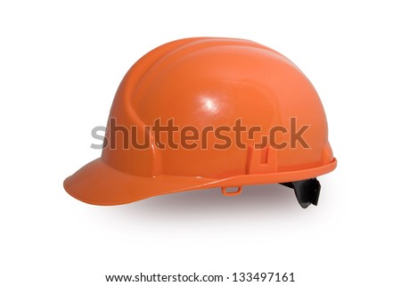 Bright orange hardhat isolated over white background - stock photo