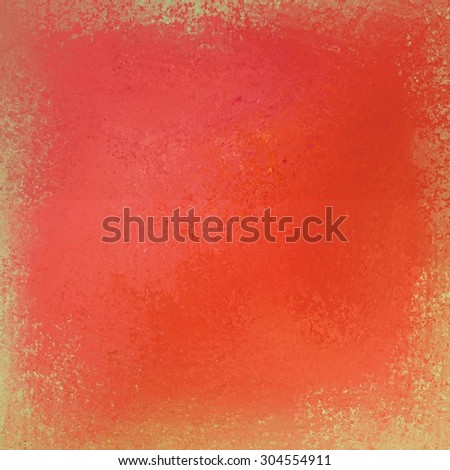 bright orange textured background with beige and yellow grunge border - stock photo
