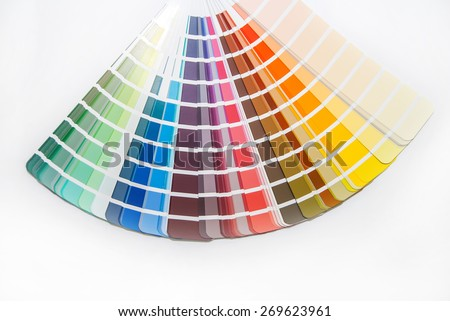 bright palette of colors isolated on white background - stock photo