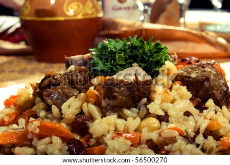 Bright photo of hot pilaf - stock photo