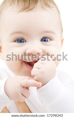 bright picture of adorable baby boy over white - stock photo