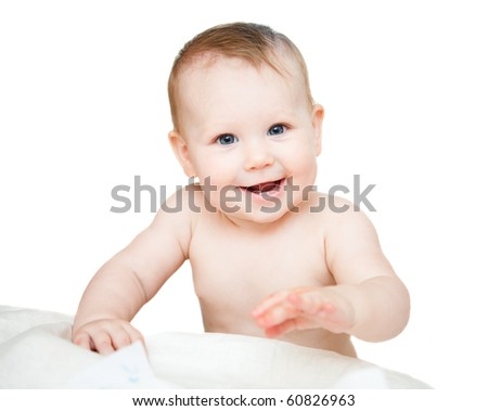 bright picture of adorable baby girl over white - stock photo
