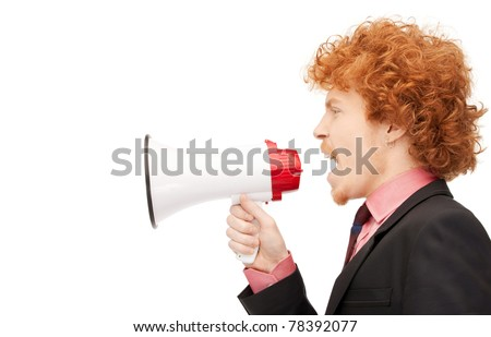 bright picture of angry man with megaphone - stock photo