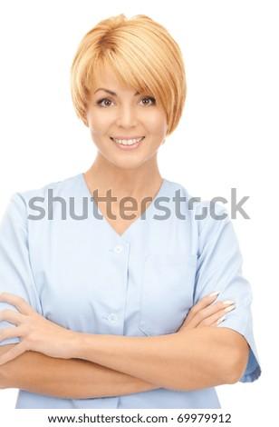 bright picture of attractive female doctor over white - stock photo