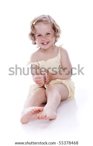 bright picture of baby girl on white background - stock photo