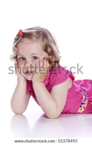 bright picture of baby girl on white background