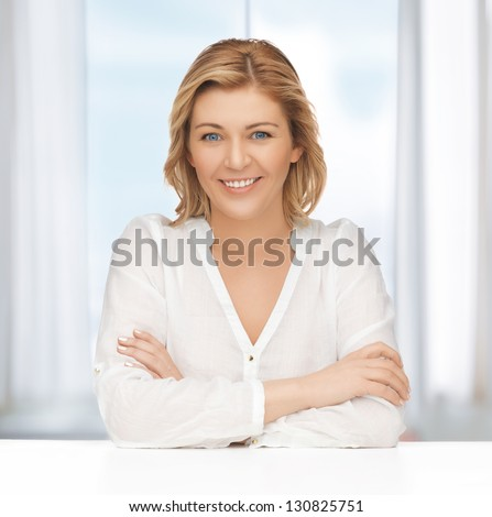 bright picture of beautiful woman in casual clothes - stock photo