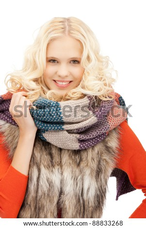 bright picture of beautiful woman in muffler