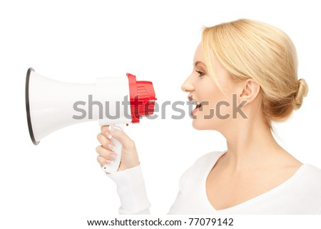 bright picture of beautiful woman with megaphone - stock photo