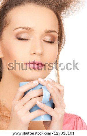 bright picture of beautiful woman with mug