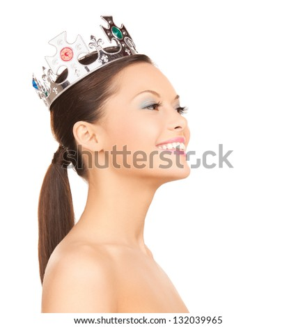 bright picture of beautiful woman with the crown - stock photo