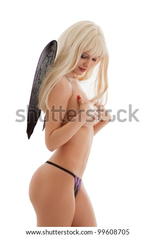 bright picture of black lingerie angel girl - stock photo