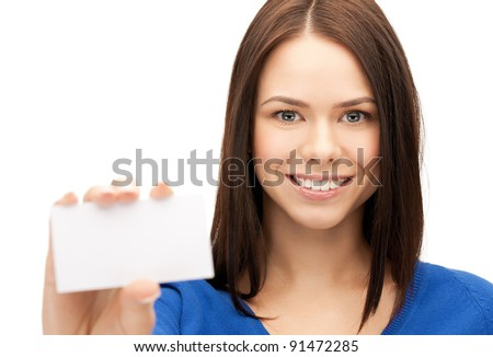 bright picture of confident woman with business card - stock photo