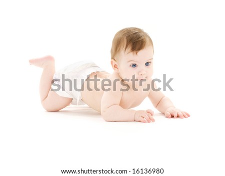 bright picture of crawling baby boy in diaper - stock photo
