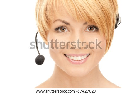 bright picture of friendly female helpline operator - stock photo