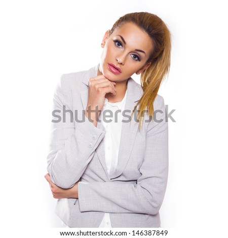 Bright picture of friendly young blonde businesswoman. Isolated on white background.