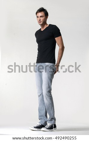 bright picture of handsome man in black shirt