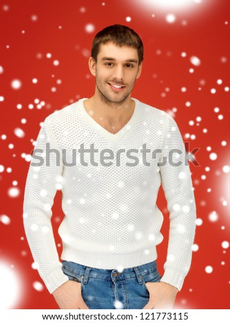 bright picture of handsome man in warm sweater. - stock photo