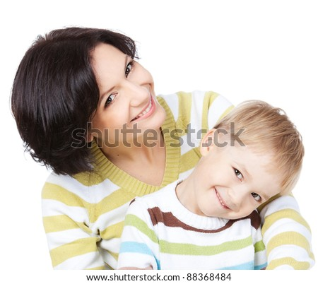Bright picture of happy mother and little son over white - stock photo