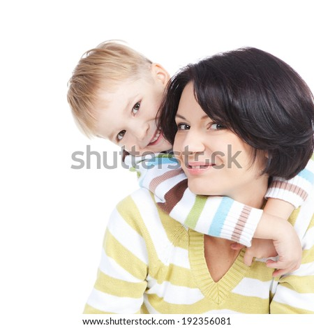 Bright picture of happy mother and smiling little son over white background - stock photo