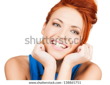 bright picture of happy smiling woman dreaming - stock photo