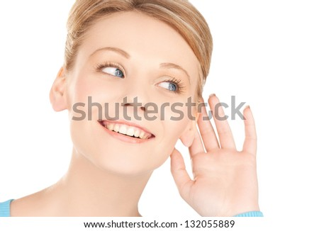 bright picture of happy woman listening gossip - stock photo