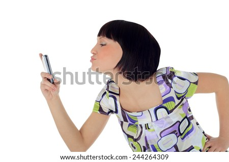 Bright picture of happy woman with cell phone