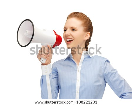bright picture of happy woman with megaphone - stock photo